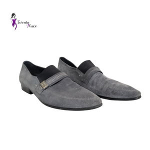 Woufo Freedom For Man Men's Gray Suede Slip-On Loafer Dress Shoes Size 44
